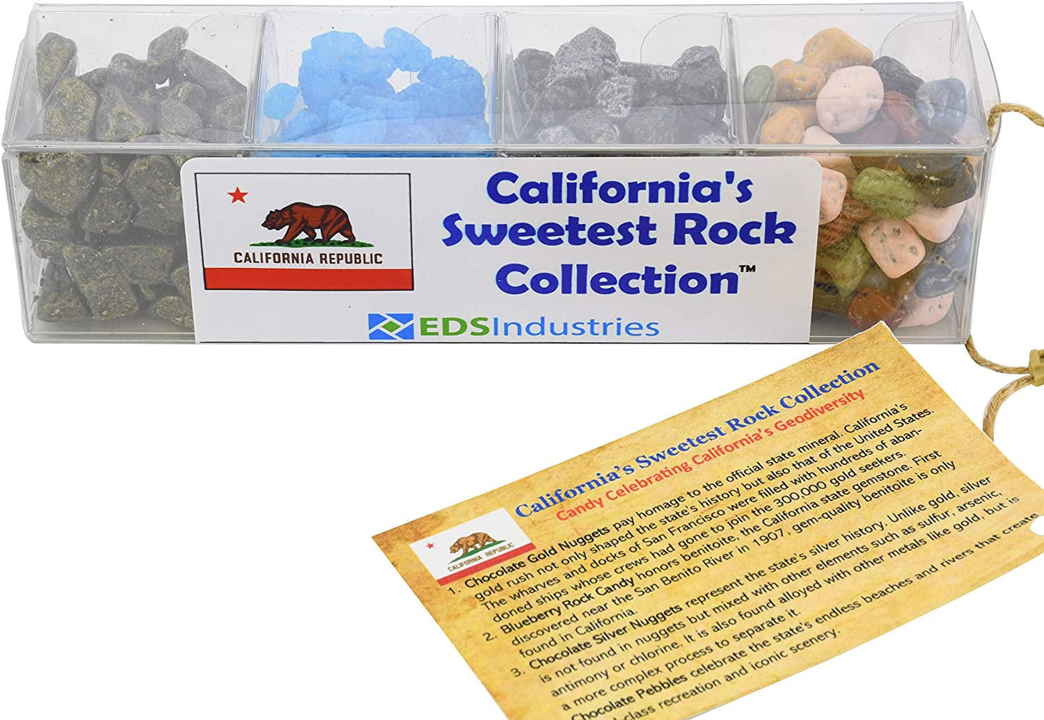 EDS Industries State Rocks Candy, Sweetest Rock Collection - Chocolate, Jelly Beans, Rock Candy Gift Box (California Rock Candy)