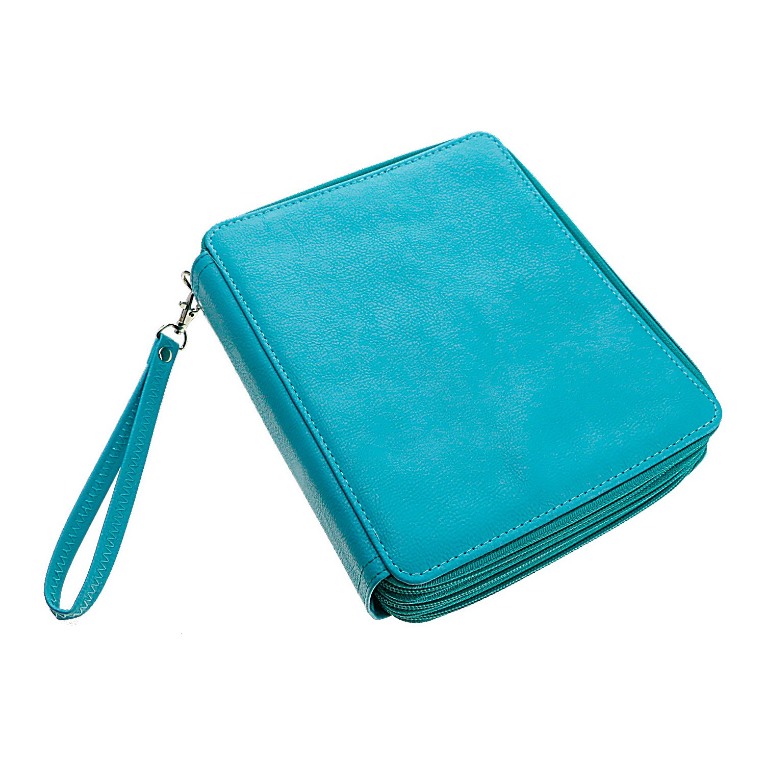 120 Slots PU Leather Pencil Case Travel Portable Southsun Colored Pencil Holder Pen Bag Pouch for Artist Students (Turquoise)