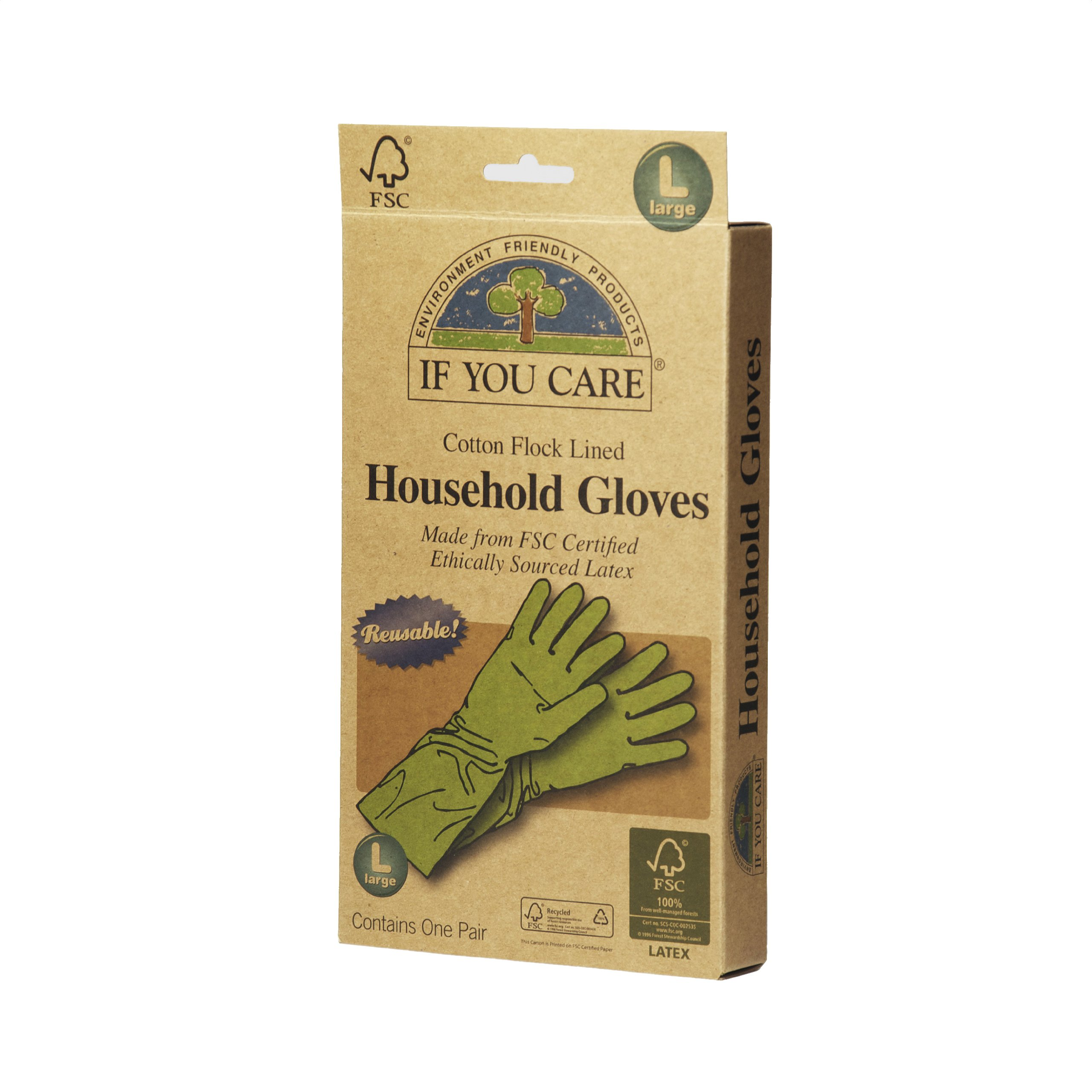 IF YOU CARE Large Cotton Flock Lined Household Gloves, 1 Pair (Pack of 6)