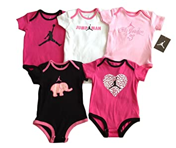74d3fb233bde Nike Jordan Infant New Born Baby Girl Lap Shoulder Bodysuit 5 PCS with  Different Color and