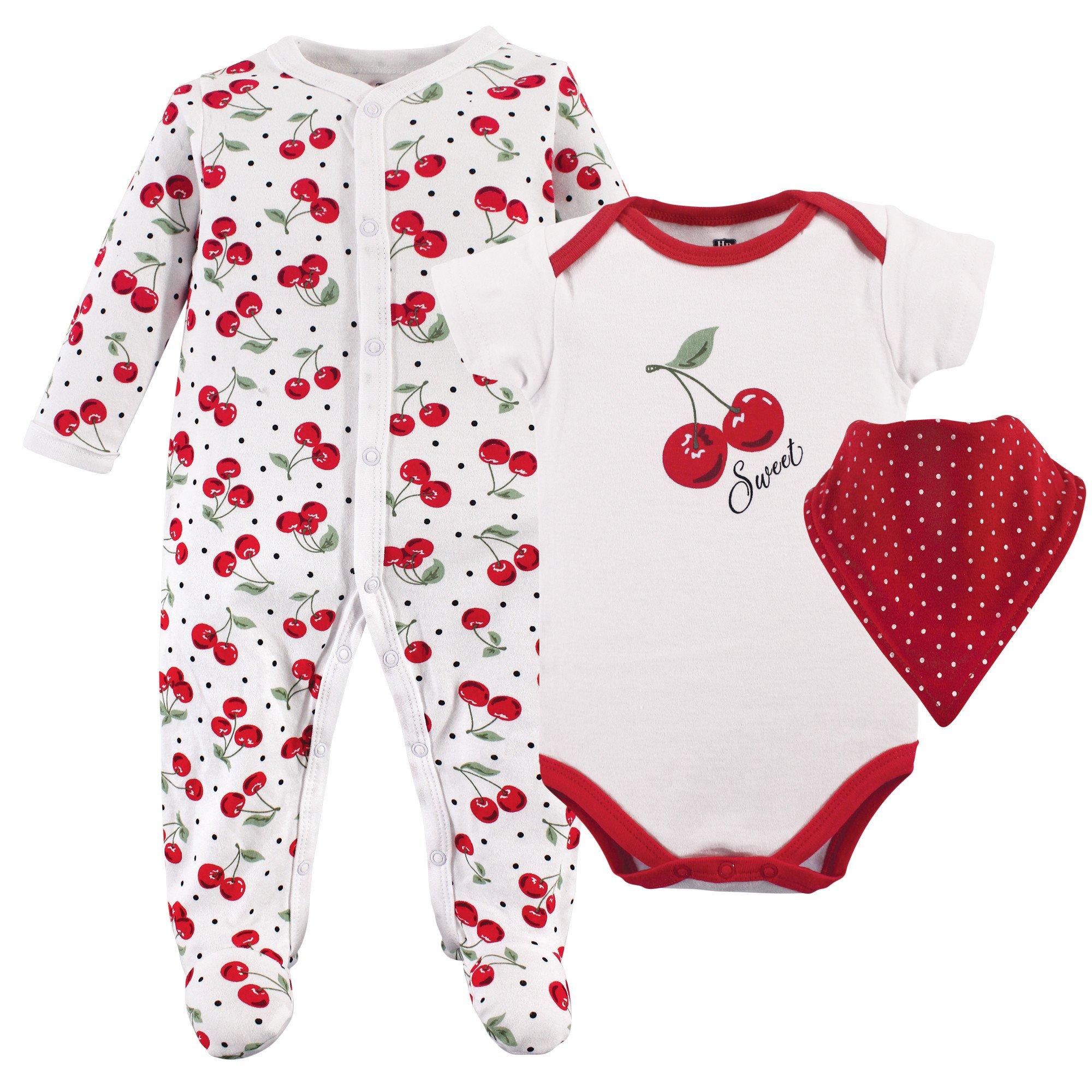 Hudson Baby Multi Piece Clothing Set, Cherries 3, 6-9 Months