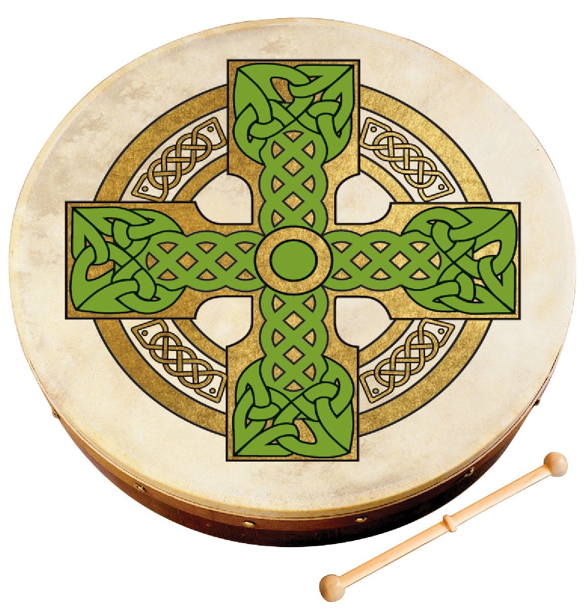 Waltons Bodhrán 12'' (Cloghan Cross) - Handcrafted Irish Instrument - Crisp & Musical Tone - Hardwood Beater Included w/ Purchase