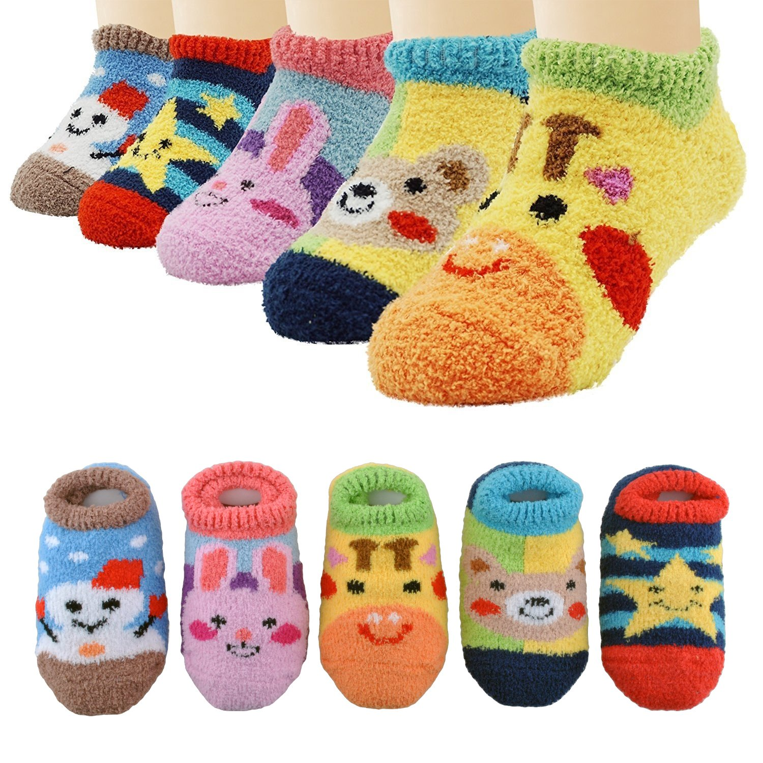 EINSKEY Baby Socks with Grips, 5 Pairs Lovely Non-Slip Fleece Lining Ankle Socks for 6-18 Months Toddlers