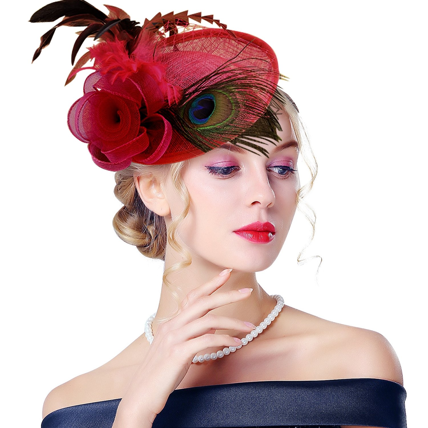 Edith qi Lady Retro Peacock Cocktail Fascinators Sinamay Derby Hats for Wedding Party (Burgundy)