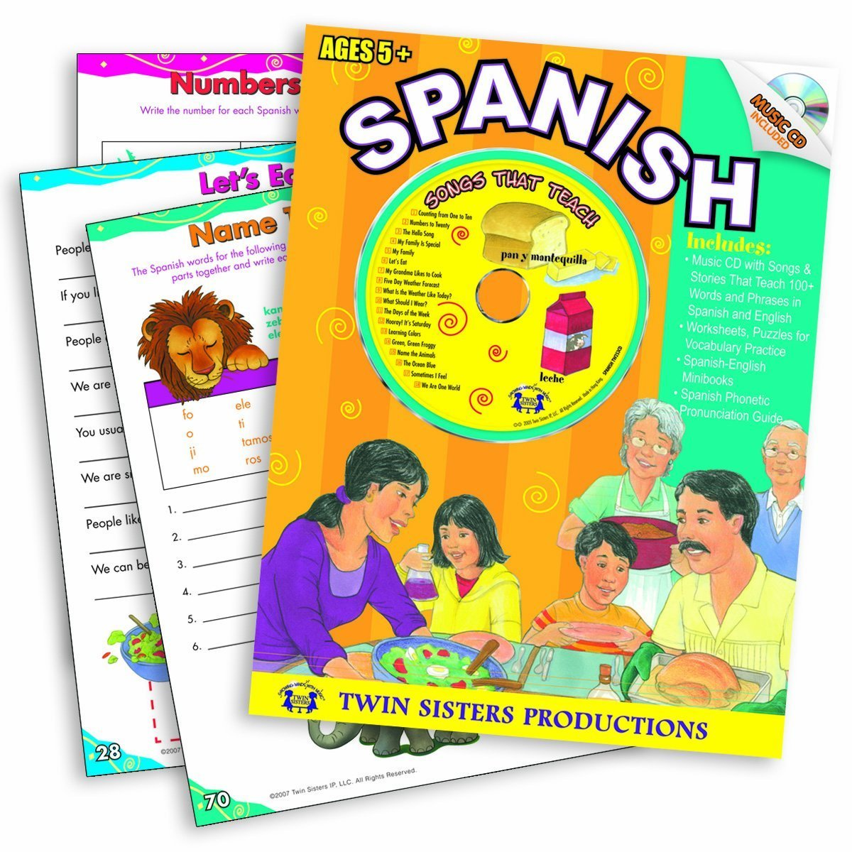 Spanish 96pg. Workbook & Music CD (Listen and Learn a Language Series, 10) (Spanish and English Edition) by Twin Sisters Productions
