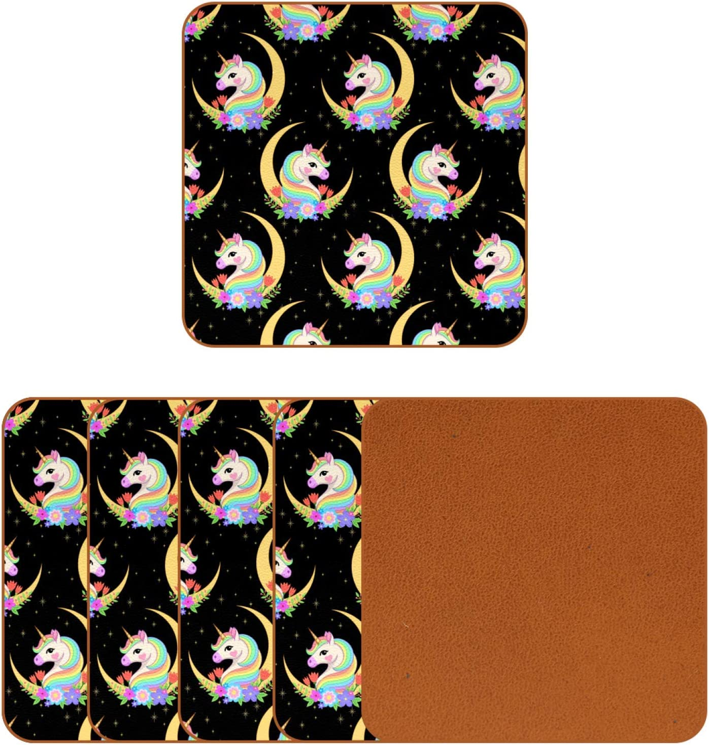 Coasters for Drinks Crescent with Unicorn Head Leather Square Mug Cup Pad Mat for Protect Furniture, Heat Resistant, Kitchen Bar Decor, Set of 6