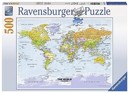 Amazon Com Ravensburger Political World Map Jigsaw Puzzle 500