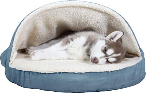 Furhaven Pet - Plush Ergonomic Contour Orthopedic Mattress, Round Snuggery Blanket Burrow Dog Bed, & Anti-Anxiety Hooded Donut Dog Bed for Dogs & Cats - Multiple Styles, Sizes, & Colors
