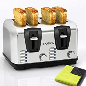 TEKAMON Toaster 4 Slice, Classic Stainless Steel Toaster, Extra Wide Slots, 7 Bread Shade Settings, Bagel/Reheat/Defrost/Cancel Function, Removable Crumb Tray, Yellow Cleaning Cloth