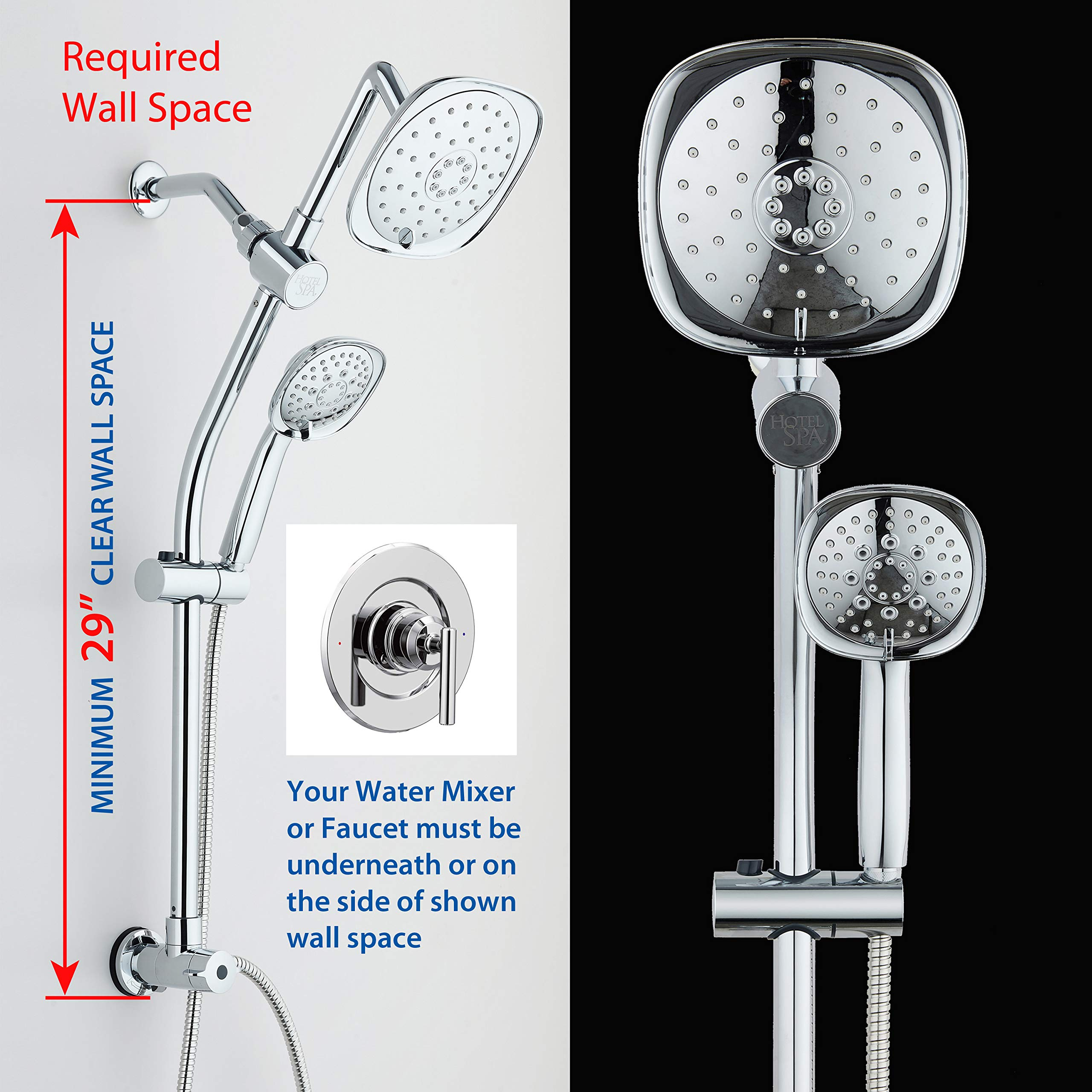 Spa Station 34'' Adjustable Drill-Free Slide Bar with 48-setting Showerhead Combo & Height Extension Arm / 3-way Square Rain & Handheld Shower Head/Low Reach Diverter/Stainless Steel Hose/Chrome by Hotel Spa (Image #3)