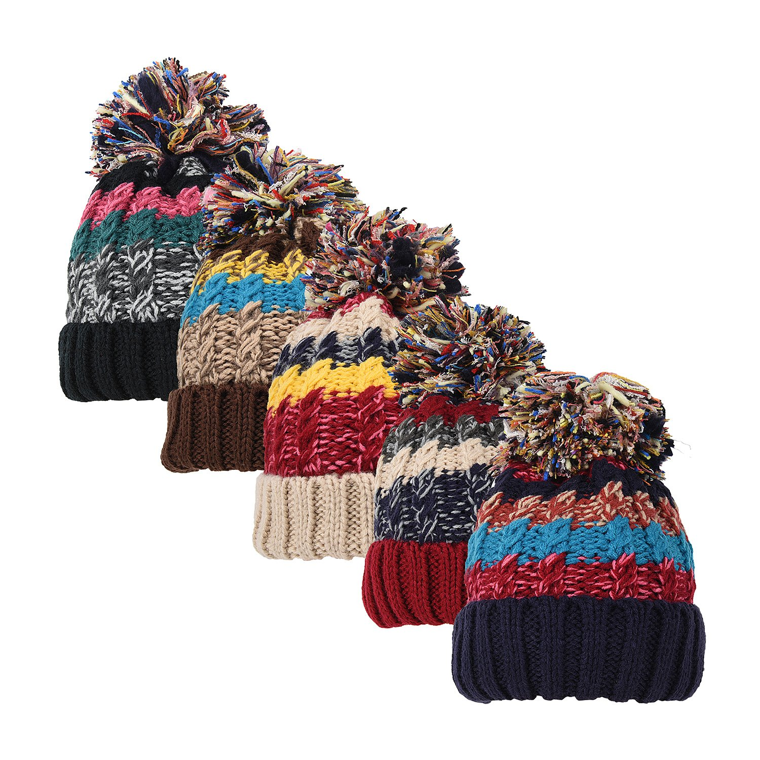 Womens Girls Pom Hats Marl Chunky Knit Winter Bobble Snowboard Hat with Fleece Thinsulate Lining 68600A030700