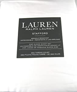Lauren 4 Pc Stafford White Queen Sheet Set Wrinkle Resistant 100% Cotton Sateen 350 Thread Count