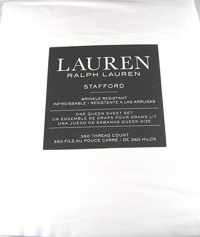 Amazon Com Lauren 4 Pc Stafford White Queen Sheet Set Wrinkle Resistant 100 Cotton Sateen 350 Thread Count Home Kitchen
