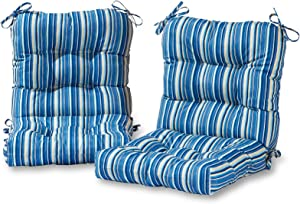 Greendale Home Fashions AZ6815S2-SAPPHIRE Steel Blue Stripe Outdoor Chair Cushion (Set of 2)