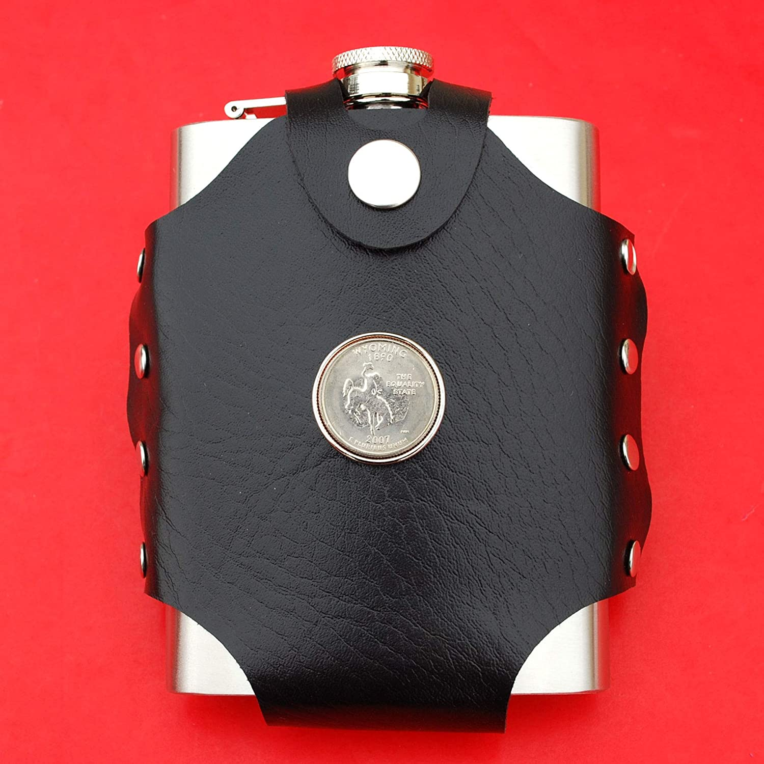 US 2007 Wyoming State Quarter BU Uncirculated Coin Leak Proof Black PU Leather Wrapped Stainless Steel 8 Oz Hip Flask Water Liquor Wine etc.