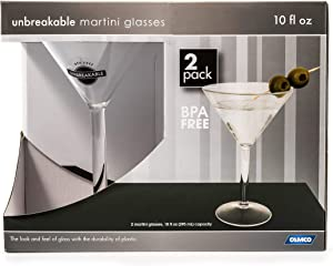 Camco Unbreakable Travel Martini Glass- 10 Ounce, Dishwasher Safe, BPA Free,Perfect For Picnics, Cookouts, and The Beach - Set of 2 (43901)