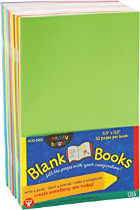 Hygloss Products Colorful Blank Books – Books for Journaling, Sketching, Writing & More – Great for Arts & Crafts - 10 Assorted Bright, Fun Colors - 5.5 x 8.5 Inches - 10 Pack