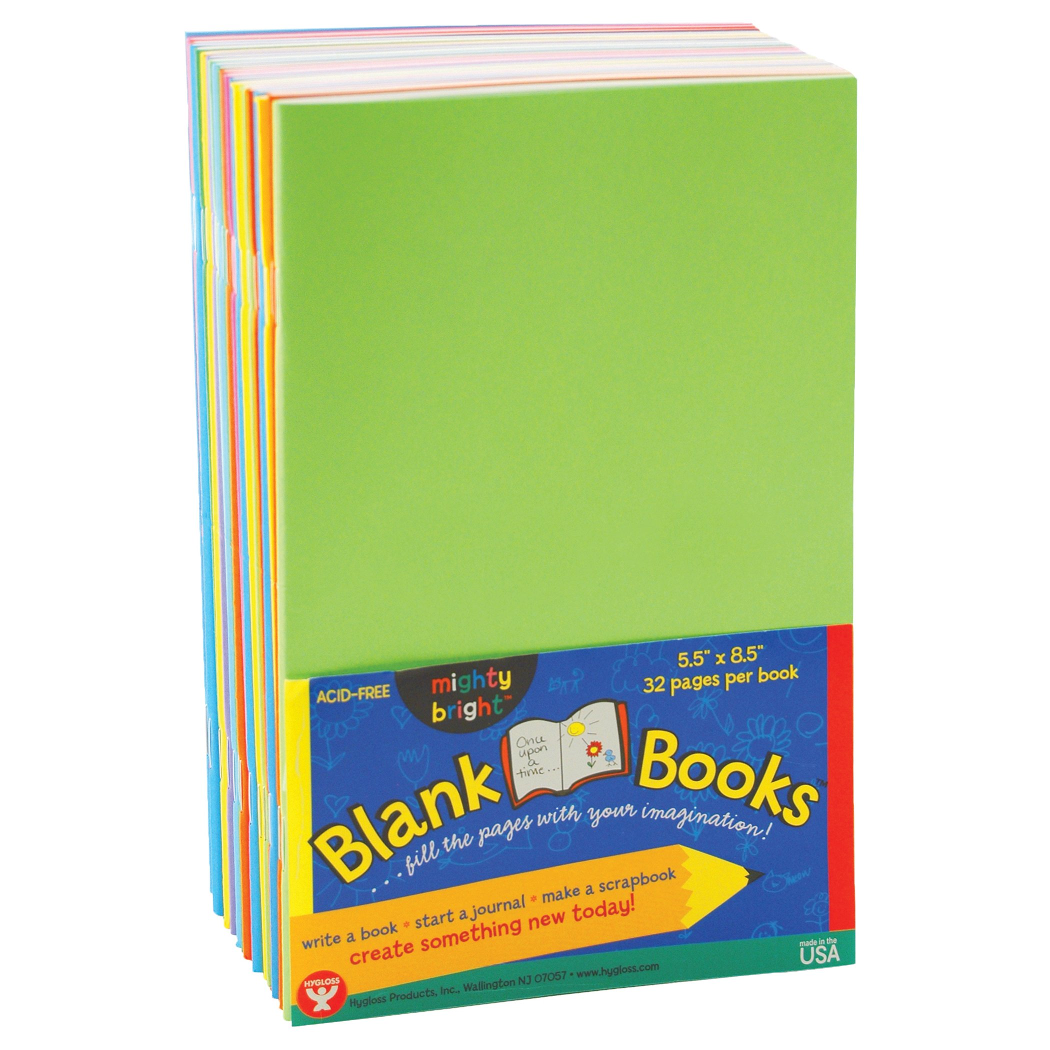 Hygloss Products HYG77705BN Mighty Brights Books 32 PG 5 1/2X8 1/2 10 Bk, Grade 4:'' Height, 5'' Wide, 8.5'' Length, Assorted Colors (Pack of 20)