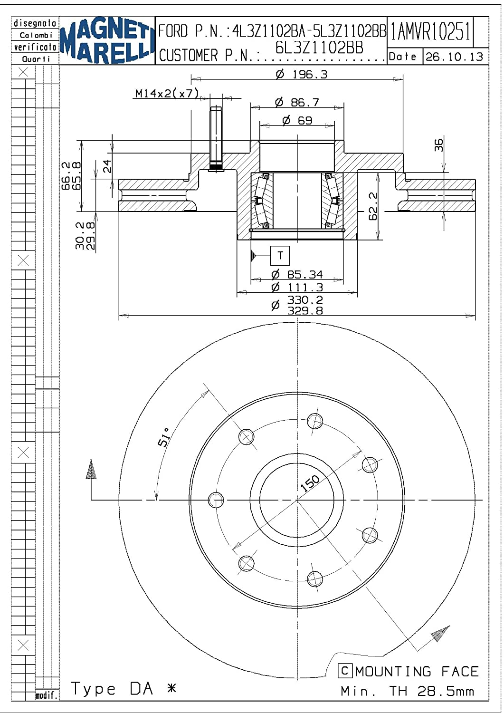 Magneti Marelli by Mopar 1AMVR10251 Disc Brake Rotor