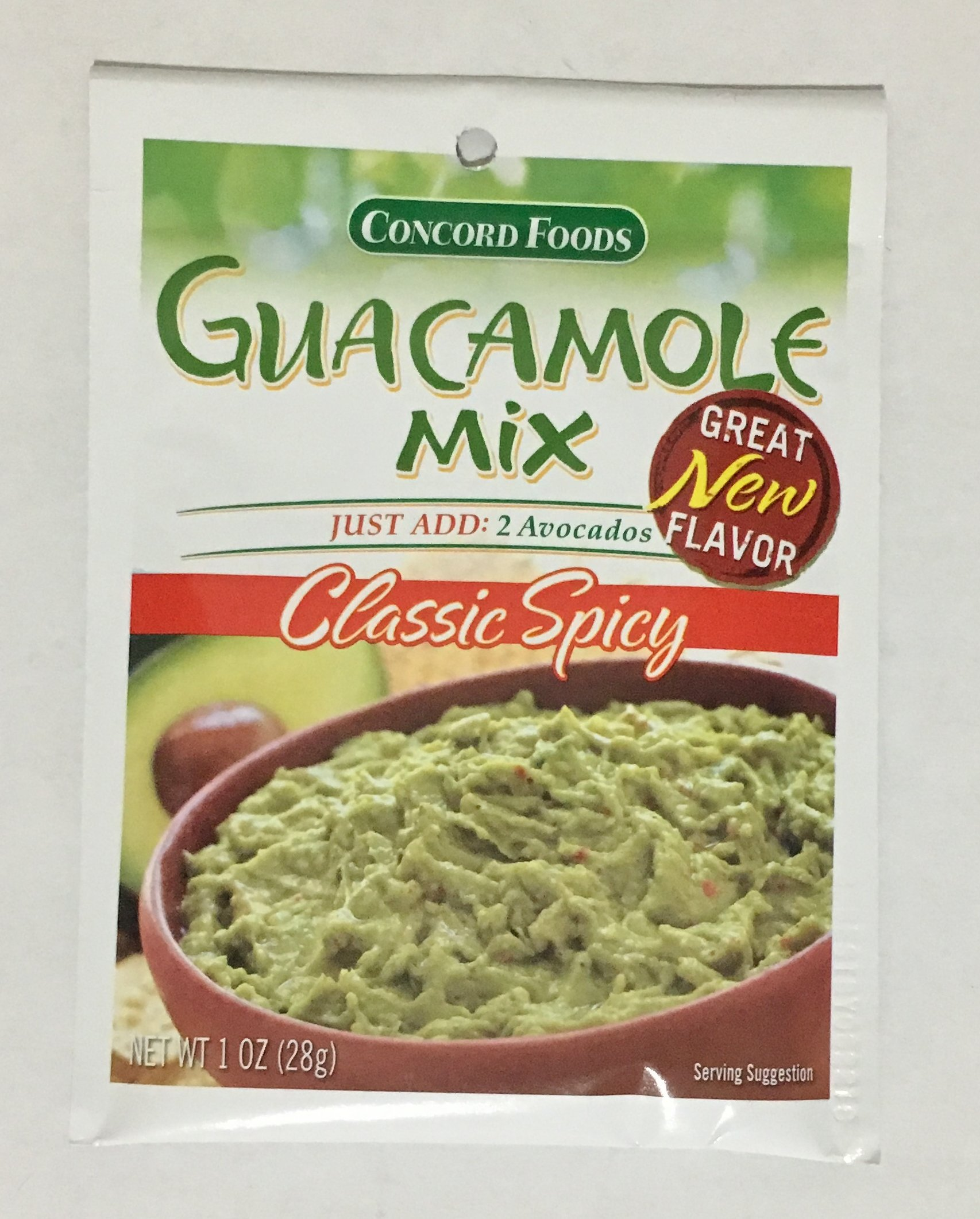 Concord Foods, Guacamole Mix, Classic Spicy, 1oz Packet (Pack of 6)