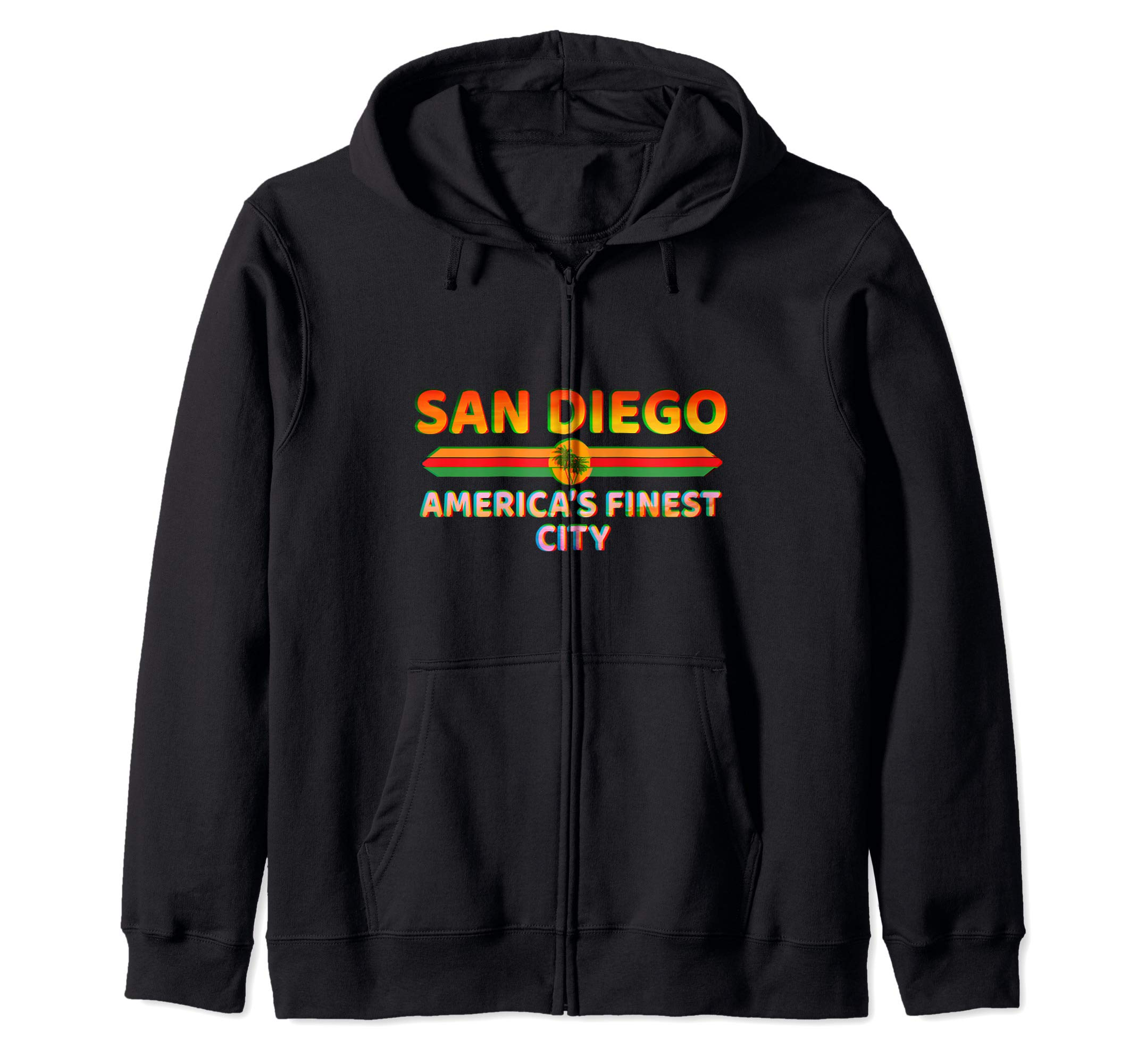 San Diego America's Finest City - California Retro San Diego Zip Hoodie by La Ferte-Bernard