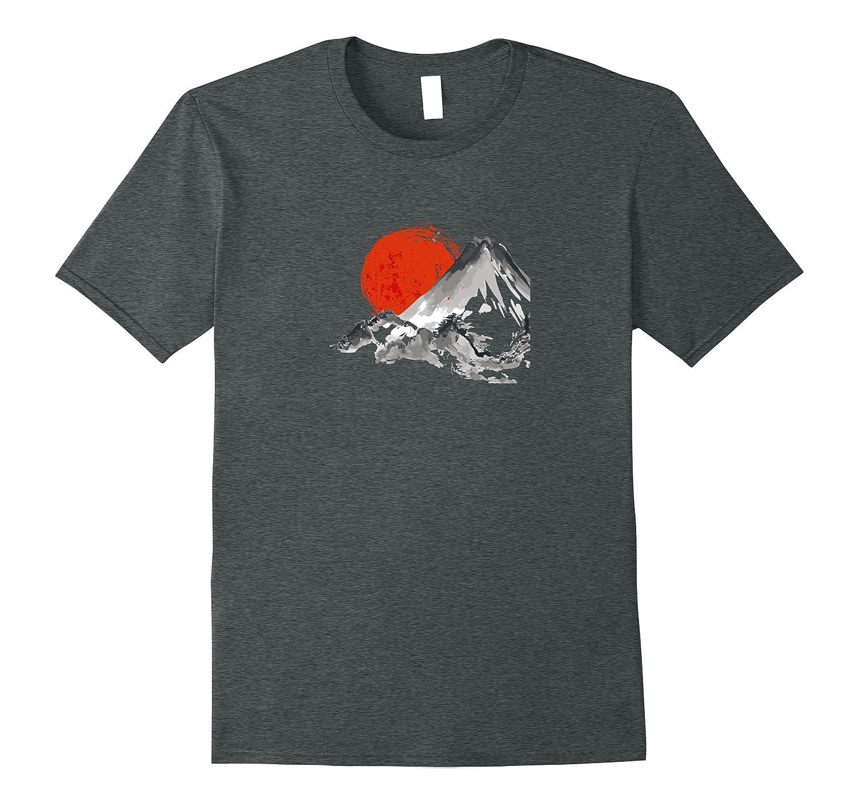 Japan Sun & Mountain Watercolor Zen T Shirt-FL