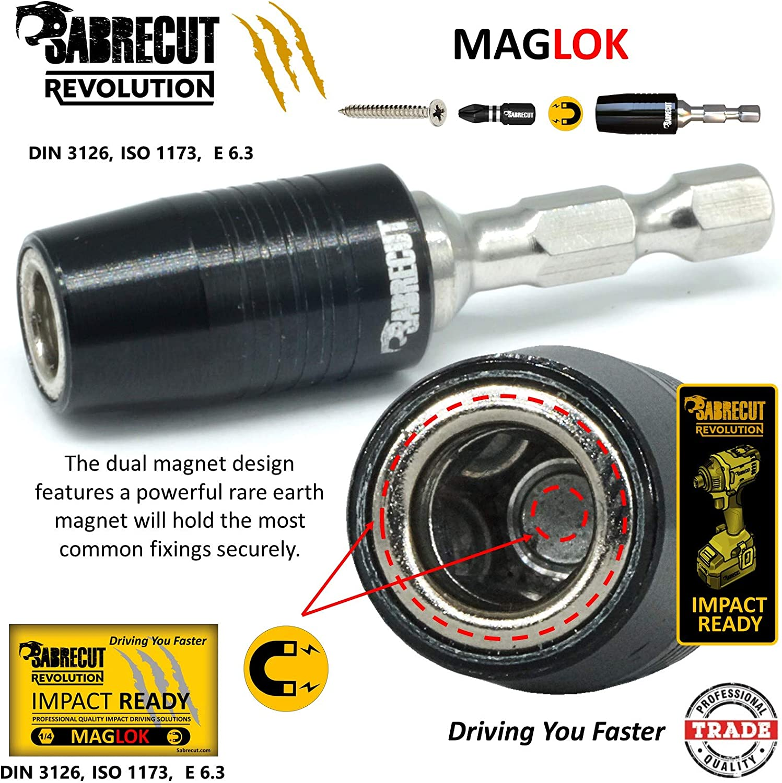 6 x SabreCut SCRK4 Professioneller magnetischer Schlagbohrer 60 mm mit 5 x 25 mm Schlag-Bits PZ2 PZ3 PH2 f/ür Dewalt Bosch und andere Makita Milwaukee
