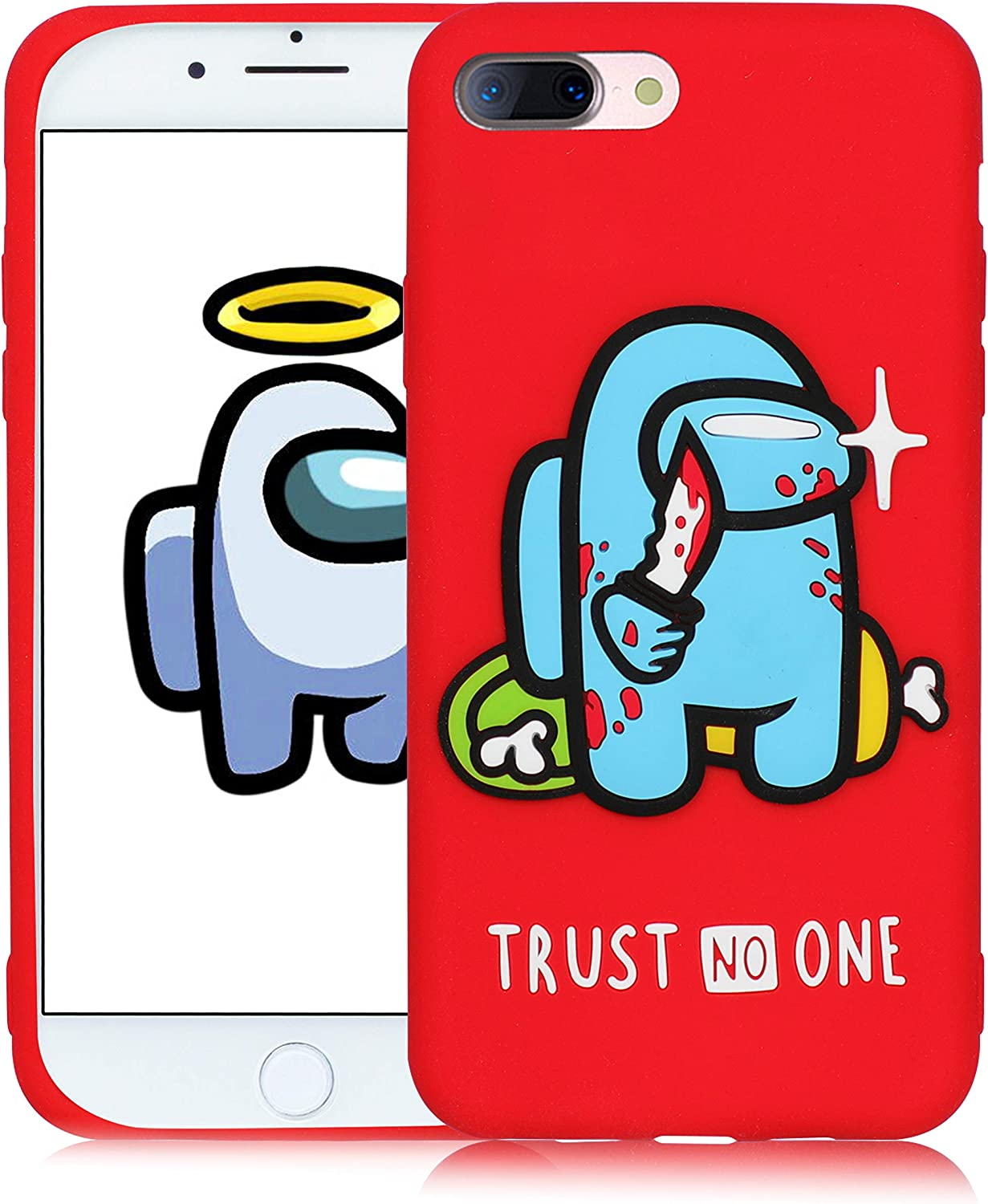 Oqplog Case for iPhone 8 Plus/7 Plus/6 Plus/6S Plus Cartoon Cute 3D Kawaii Fun Red Star Kids Design Silicone Cover,Cool Funny Fashion Cases for iPhone 8 Plus 5.5