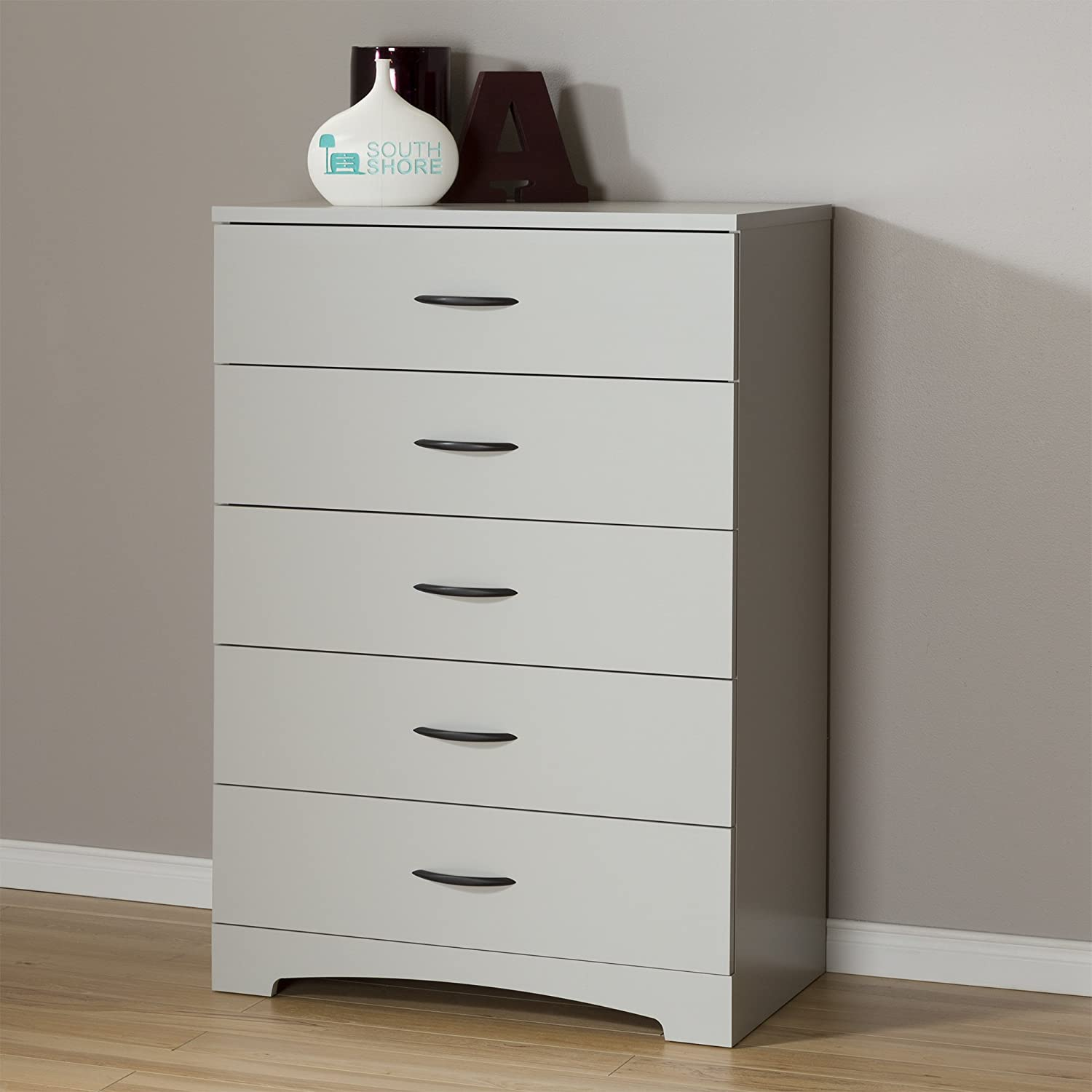 South Shore Step One 5-Drawer Dresser, Soft Gray with Matte Nickel Handles