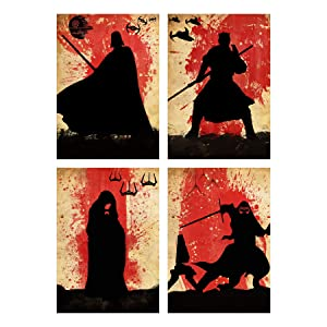 Star Wars The Dark Side 4 Minimalist Watercolor Poster set Vintage Artwork Print Darth Vader Emperor Palpatine Kylo Ren Darth Maul Retro Wall Home Decor Cool Gift for Collectibles