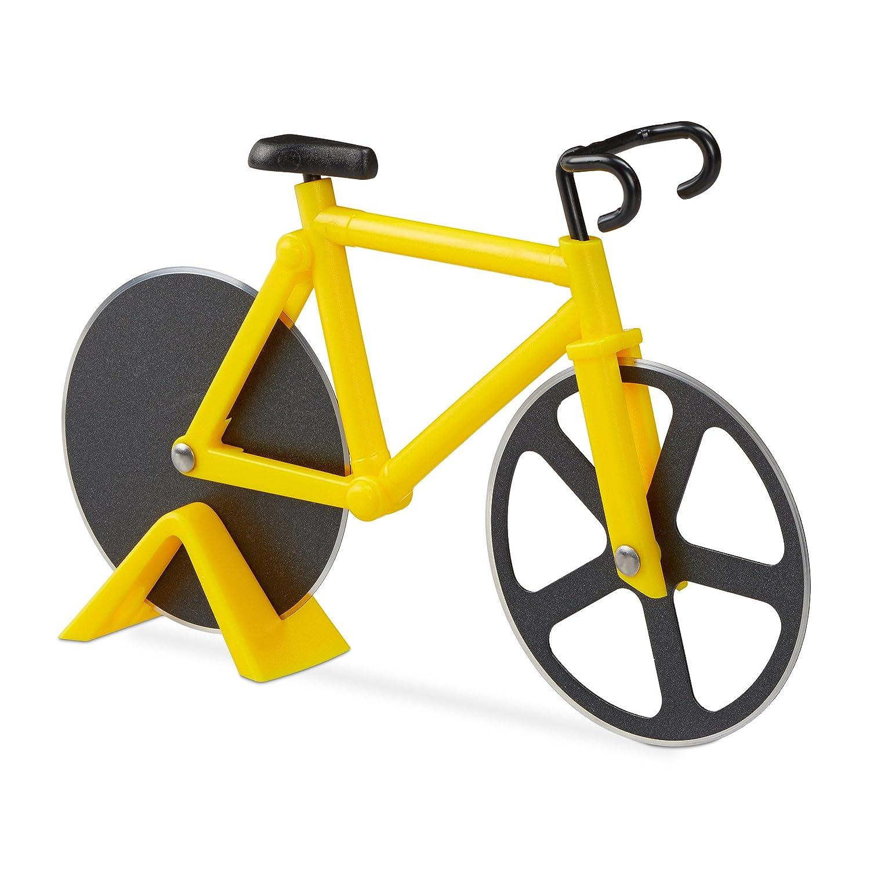 Relaxdays Cortador de Pizza Bicicleta, Acero Inoxidable y Plástico, Amarillo, 3 x 18 x 11.5 cm 10022555_48