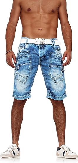 TALLA 29W. Red Bridge Short Vaqueros de Hombres Pantalones Cortos Casuales con Remaches o Taches