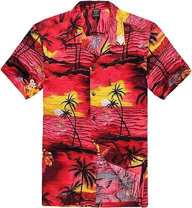 Pares Que Combinan la Camisa Hawaiana de Aloha del Vestido de túnica sobre el Vestido en Puesta de Sol roja: Amazon.es: Ropa y accesorios
