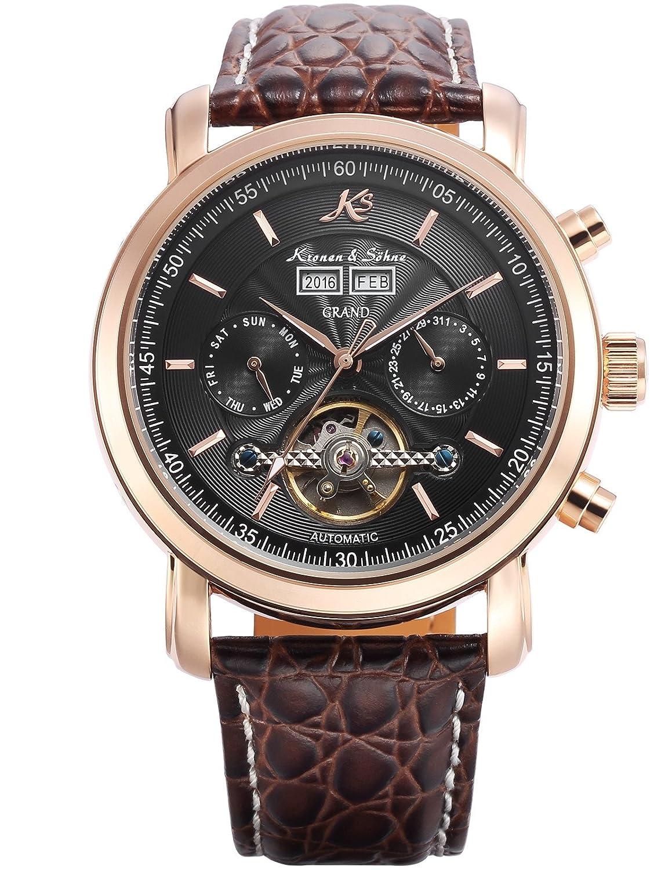 KS Herren Braune Mechanische Armbanduhr mit hÖlzerner Geschenbox KS368