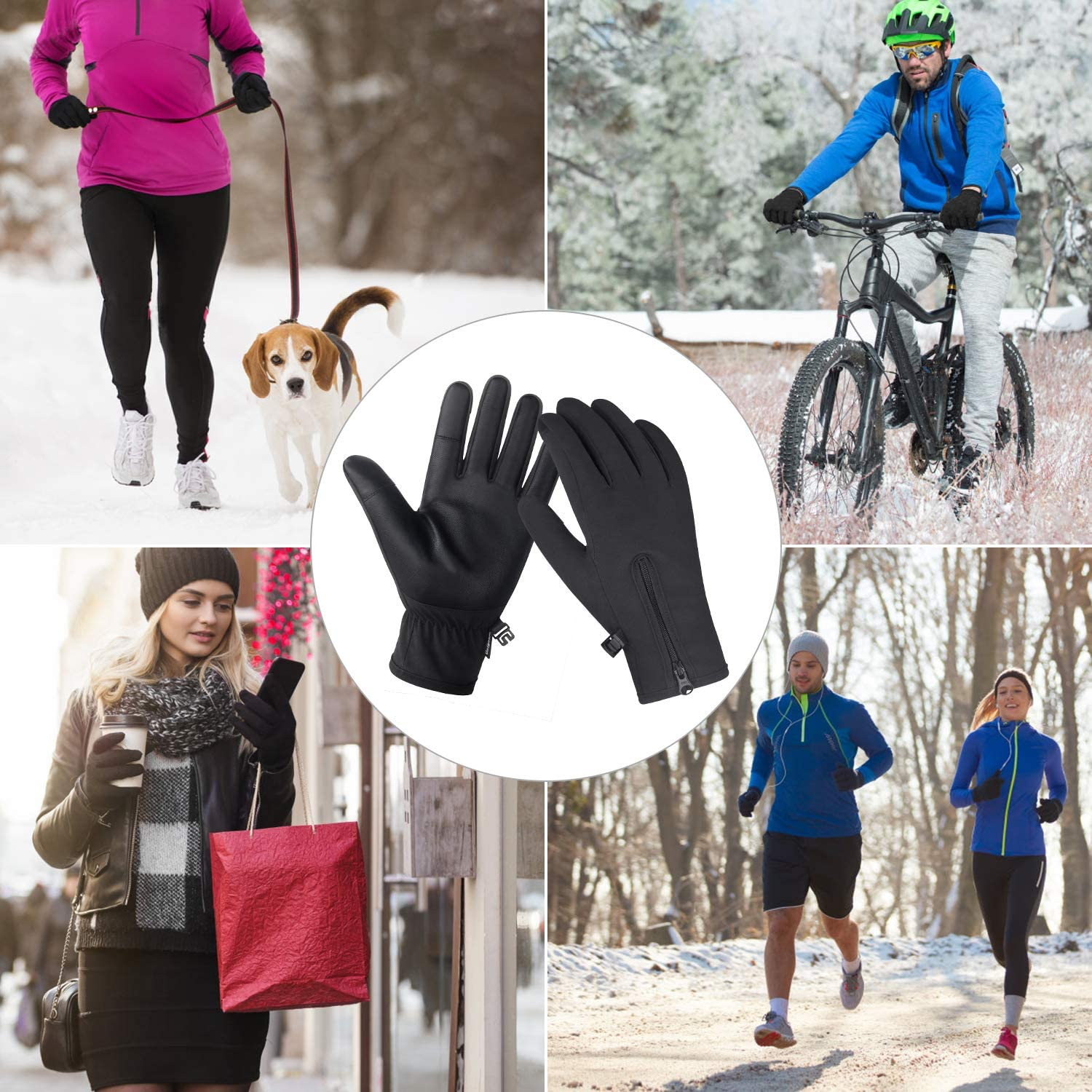Running and Driving for Men /& Women Outdoor Waterproof Touch Screen Gloves for Walking Unigear Winter Gloves Ridding Cycling