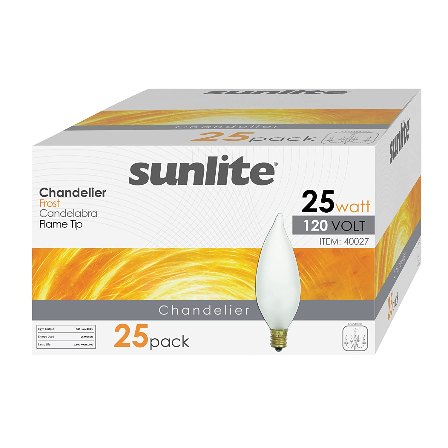 Dimmable Sunlite 40025-SU 25-Pack Flame Tip Chandelier Light Bulbs 25 Watts Clear 25 Pack Warm White Piece Incandescent Candelabra Base 32K E12 120 Volt