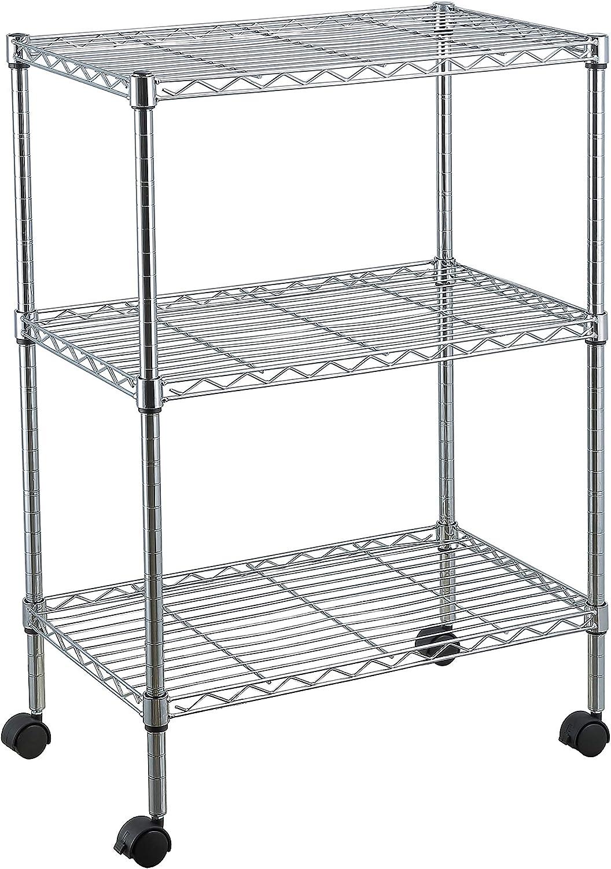 Home Basics Steel Wire Shelf | Heavy Duty | Open Design | Easy To Assemble | (Chrome, 3 Tier | 23.62