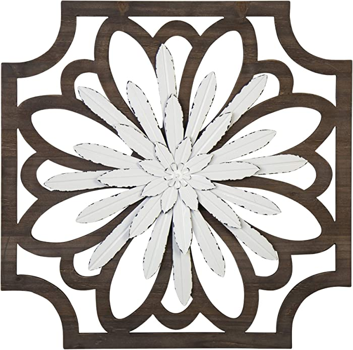 Stratton Home Decor White Flower Wood and Metal Decor Wall Décor, Large