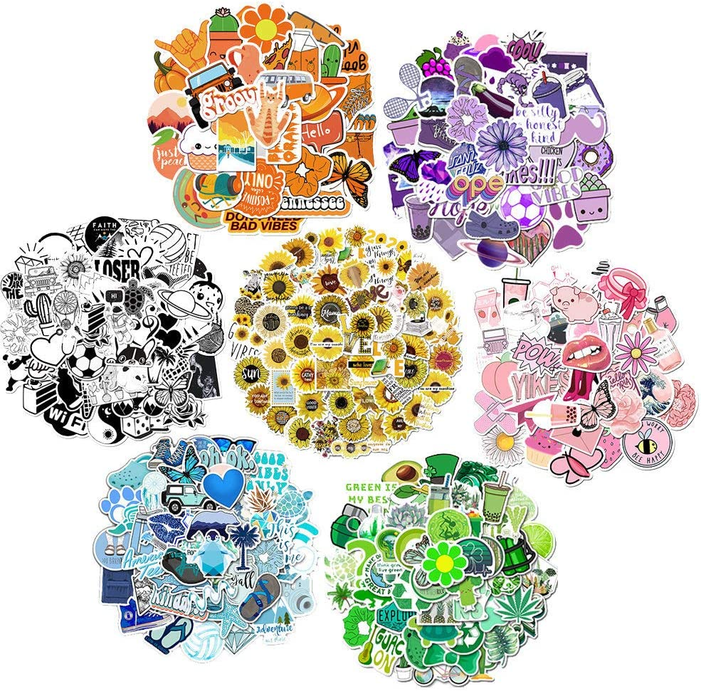 350PCS Sticker Pack Color Stickers for Laptop Stickers, flasks, Water Bottles, Skateboard Stickers, Aesthetic Stickers Favorite for Teenagers and Children