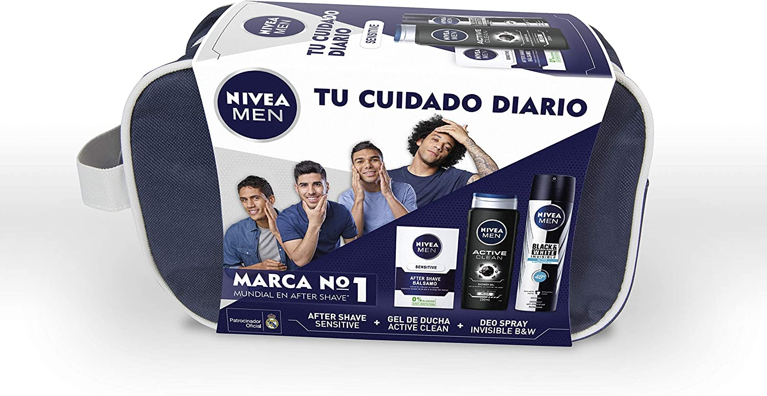 NIVEA MEN Sensitive, neceser con set de baño, caja de regalo con ...