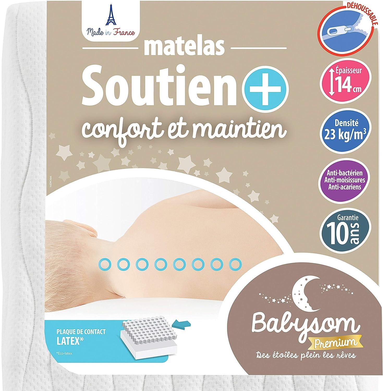 Epaisseur 14cm Babysom Matelas B/éb/é Climatis/é Et/é//Hiver Fabrication francaise 60 x 120cm Anti acarien Garantie 10ans