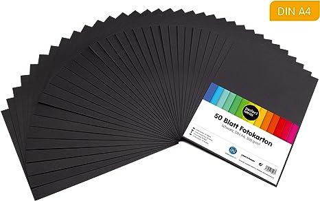 perfect ideaz 50 hojas cartulina cuché DIN-A4 negro, cartulina de ...