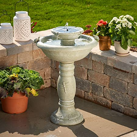 front facing smart solar 34222rm1 solar birdbath fountain