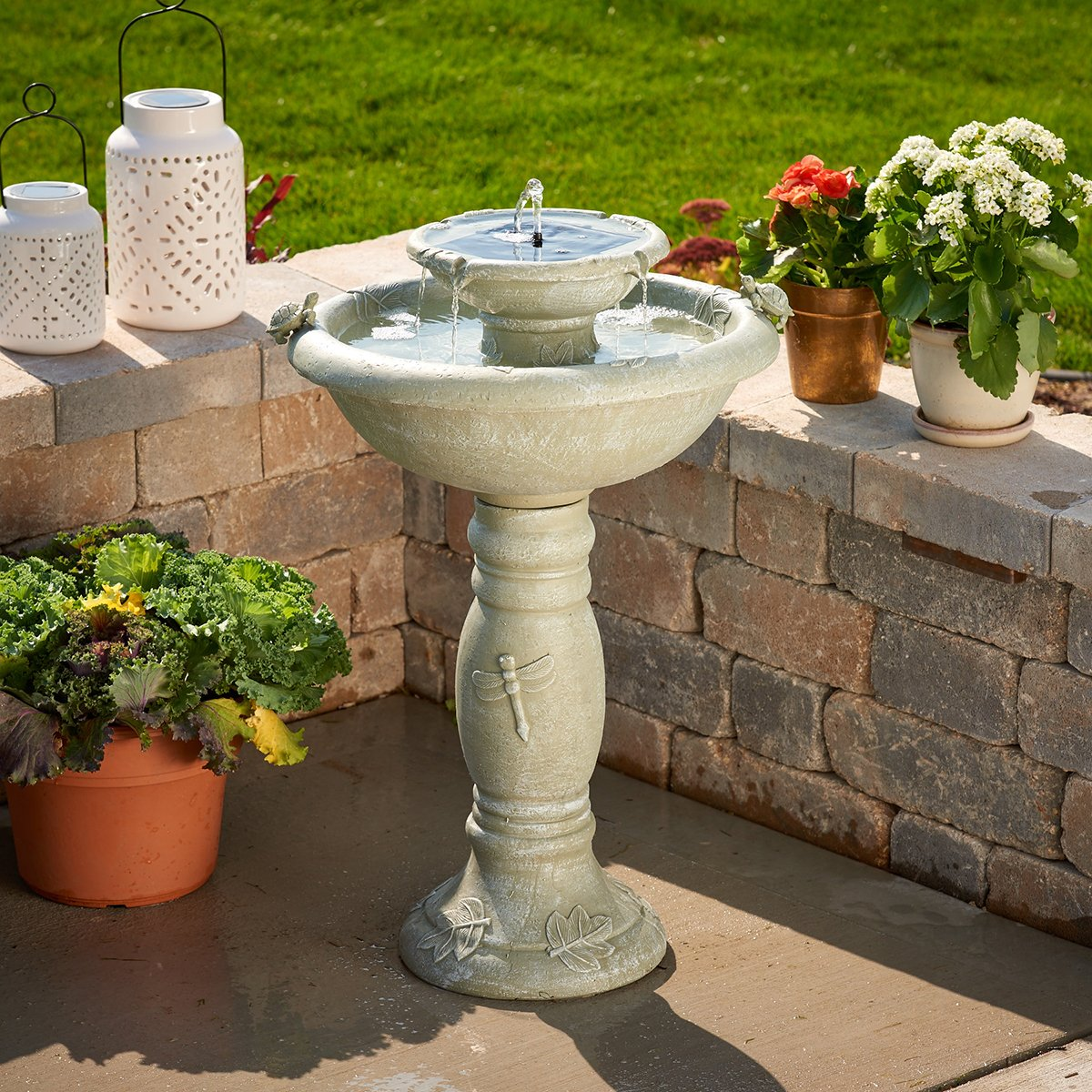 Smart Solar 34222RM1 Gray Weathered Stone Country Gardens 2-Tier Solar-On-Demand Fountain, Designed For Low Maintenance and Requires No Wiring or Operating Costs by Smart Solar (Image #2)