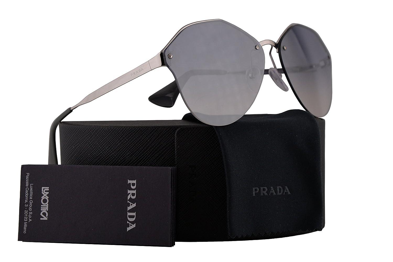 ef0c9e9327171 Amazon.com  Prada PR68TS Sunglasses Silver w Gradient Light Blue Mirror  Silver 63mm Lens 1BC5R0 SPR68T PR 68TS SPR 68T  Clothing