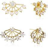 Shining Diva Gold-Plated Ear Cuffs Earrings For Women/Girls,Combo Of 2 (Golden) (cmb201)
