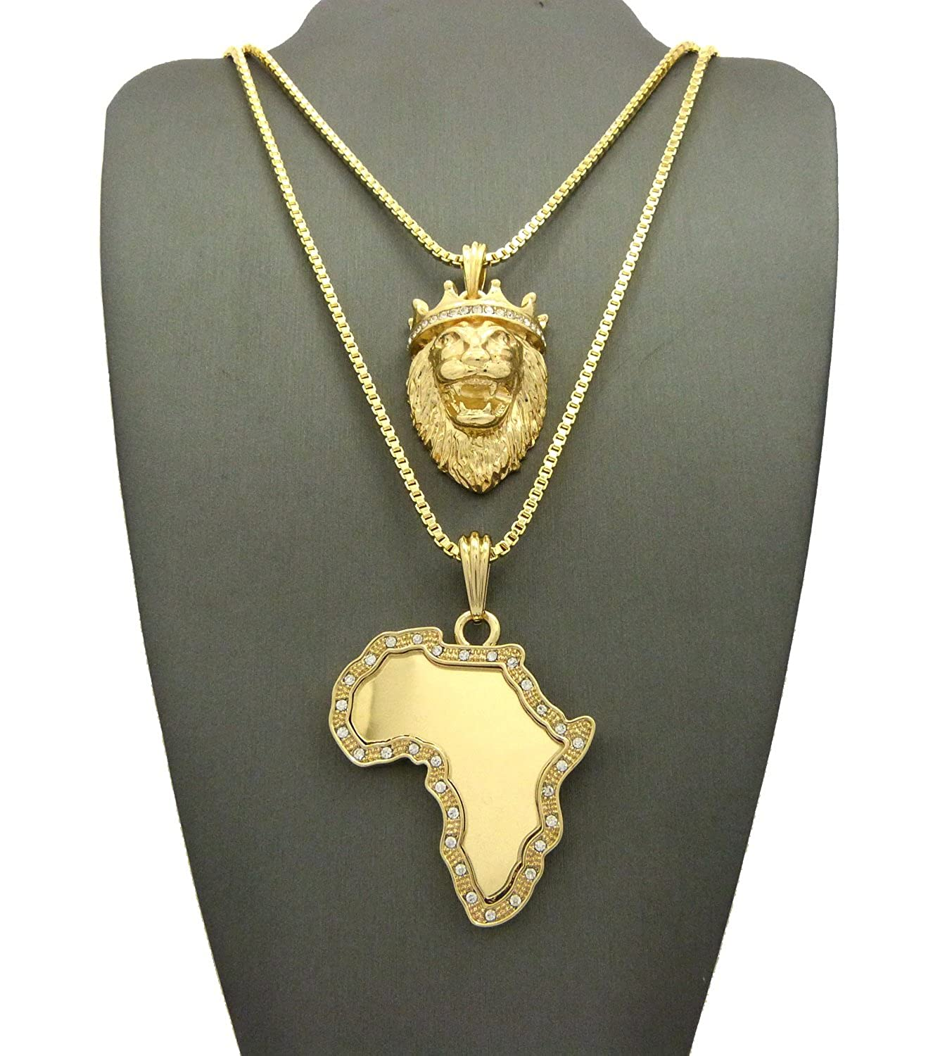 """NEW ICED OUT KING LION & AFRICA PENDANT &24""""&30"""" BOX CHAIN NECKLACE SET - RC1769G"""