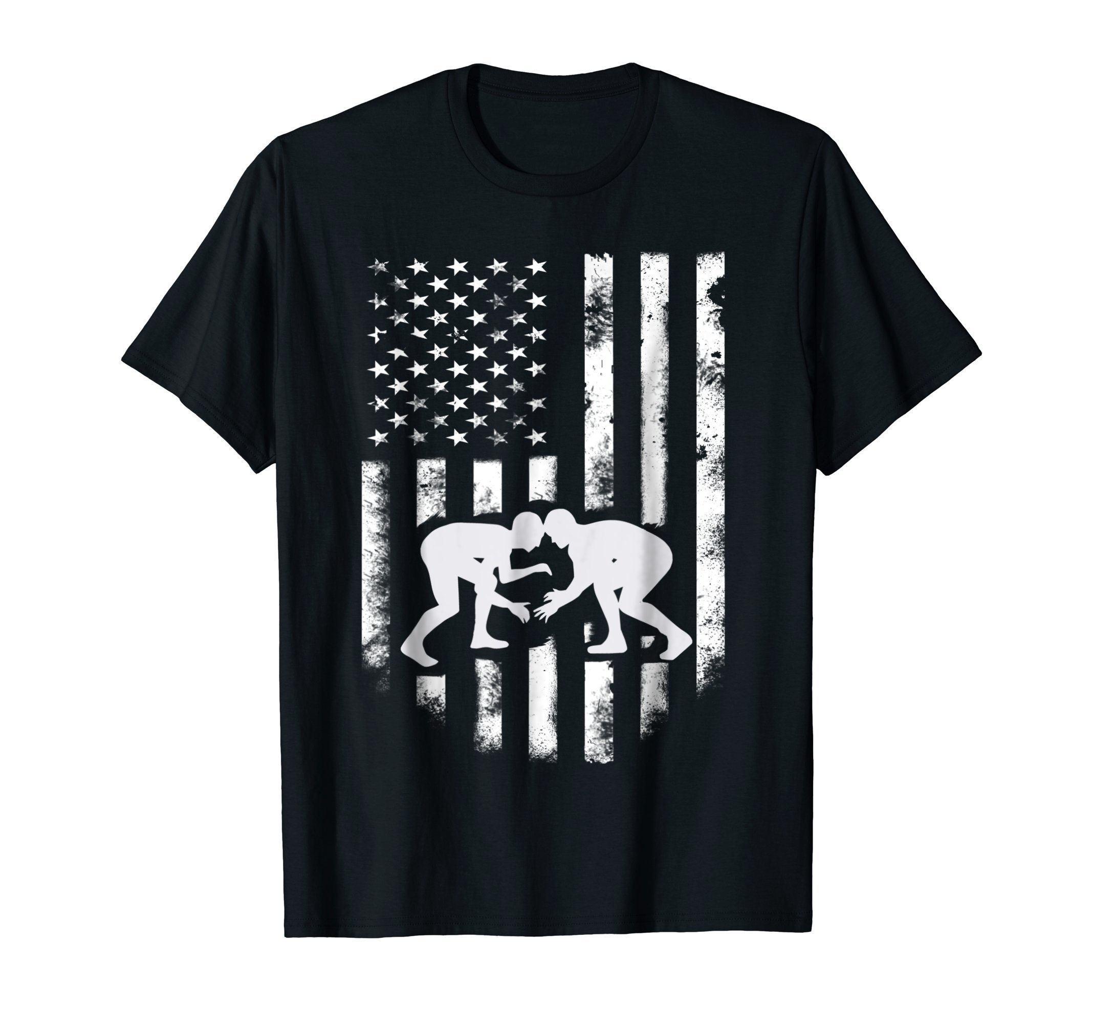 American Flag Wrestling T-Shirt Distressed Wrestle Gift Tee by Flag Wrestling & Wrestle Shirt Gifts