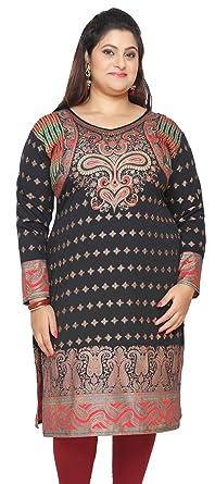 3d8b231606f Maple Clothing India Tunic Long Top Kurti Womens Plus Size Clothes (Black,  XL)