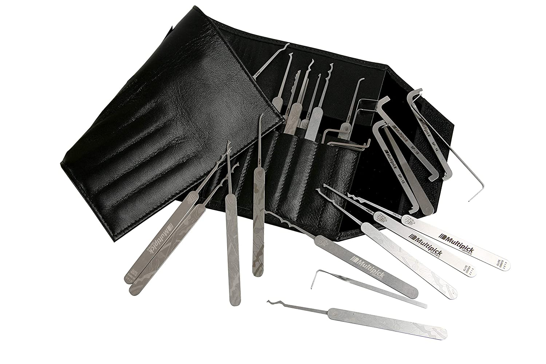 Juego de ganzúas - Multi Pick® Elite 37 con Bogota Picks - Juego de ganzúas 37 piezas, funda de piel Roll Exclusivo de hochwertigstem Muelle Acero para ...